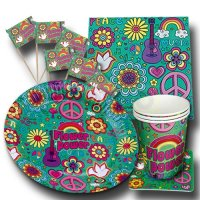 Originelles Flower Power Partyset mit bunten Retro Motiven