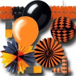 Partydeko orange-schwarz