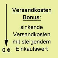 Versandkosten Bonus - sinkende Versandkosten mit steigendem Einkaufswert!