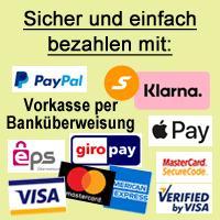 Sicher und einfach bezahlen mit PayPal, Kreditkarte, Sofortüberweisung, giropay oder eps Überweisung