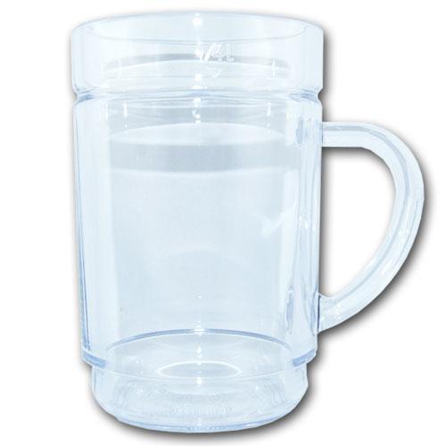 Hochwertiges, wiederverwendbares Trinkglas mit Henkel 1/4 l aus Kunststoff