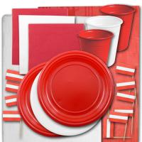 Österreich Länderdeko Partygeschirr-Set rot-weiß