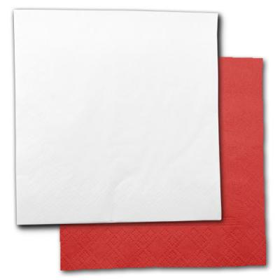 Rote und weiße Papierservietten im Sparset.