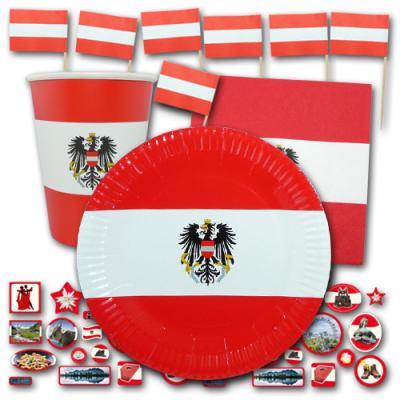 Partygeschirr Set mit Österreich Flagge Motiv bestehend aus Papptellern, Pappbechern, Servietten, Flaggenpickern und Deko Motiven Österreich.