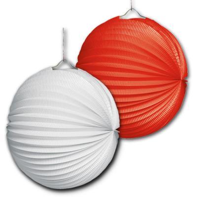 Lampionset bestehend aus 1 roten und 1 weißen Lampion.