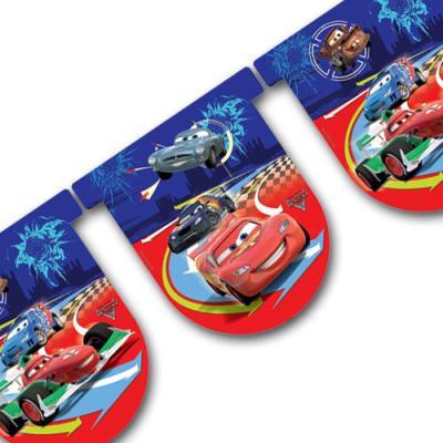 """1 bunte Motivgirlande mit """"Cars"""" Motiven für die Kindergeburtstags Partydekoration."""