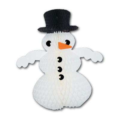 Dekorative Wabenfigur Schneemann für eine winterliche Partydeko.