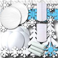 Großes Winterdeko Partyset mit weißer Partydeko und...