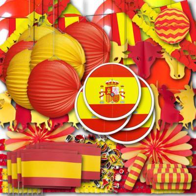 Riesiges Spanien Partydekoset XXL mit rot-gelber Spanien Deko.