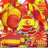 Riesiges Spanien Partydekoset XXL mit rot-gelber Spanien...