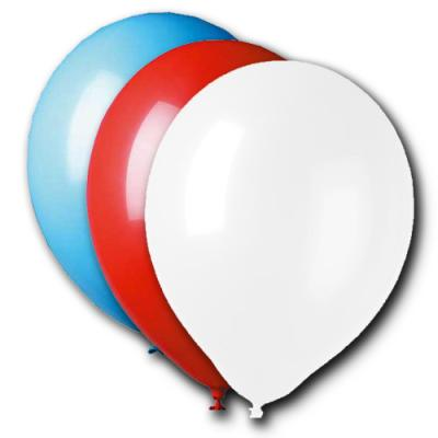 10er-Set Qualitäts Luftballons blau, weiß und rot aus Naturlatex.