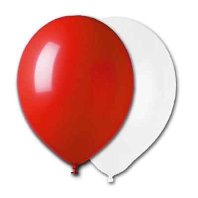 10 rote und weiße Qualitäts-Luftballons im Sparset.