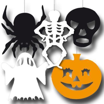 Dekohänger Set Halloween mit diversen Partydeko Motiven (Kürbis, Totenkopf, Skelett, Geist und Spinne)