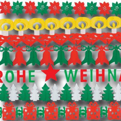 Weihnachtliches Girlanden Set mit diversen Motiven (Kerzengirlande, Weihnachtsstern Girlande, Glockengirlande, Tannenbaumgirlande, Geschenkegirlande und FROHE WEIHNACHTEN Buchstabengirlande)