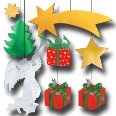 Partydeko Set mit weihnachtlichen Dekohängern (Weihnachtsstern, Engel mit Trompete, Weihnachtsgeschenke, Tannenbaum und Sterne)