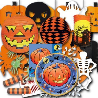 Orange-schwarzes Partyset Halloween XXL mit Partydeko & Partygeschirr