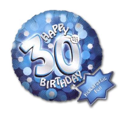 1 blauer Folienballon mit Happy Birthday 30 Motiv in silber und dekorativen Punkten in verschiedenen Blautönen und Silber.