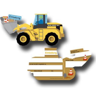 6 Einladungskarten im Design eines Baggers für den Kindergeburtstag Baustelle