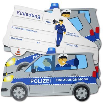 """""""Polizei"""" Kindergeburtstag Einladungskarten POLIZEIAUTO   6 Stück"""