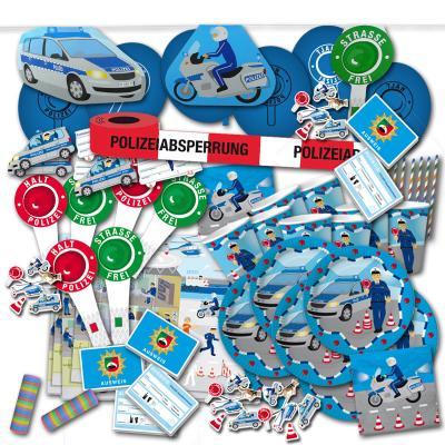 Großes Kindergeburtstag Polizei Partyset XXL mit Partydeko und Partygeschirr zum Vorteilspreis.