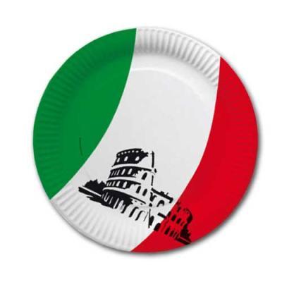 Pappteller mit Italien Tricolore Flaggenmotiv in grün-weiß-rot