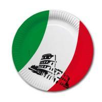 Pappteller mit Italien Tricolore Flaggenmotiv in...