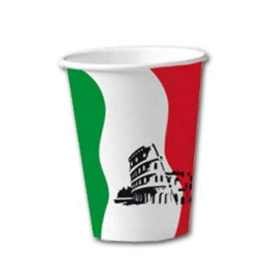 10 Pappbecher im Design der Italien Flagge in grün-weiß-rot und mit Italien Motiv.