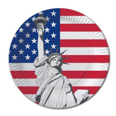Pappteller mit USA Flaggenmotiv Stars and Stripes