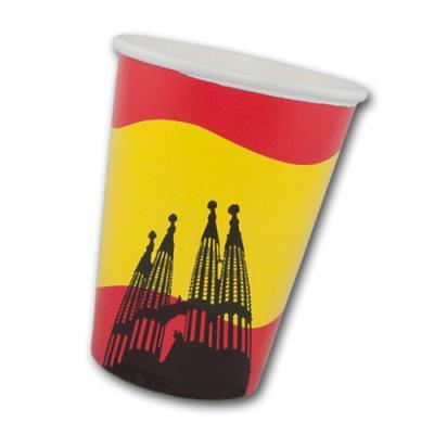 10 Pappbecher mit Spanien Flaggenmotiv und Sagrada Familia Motiv