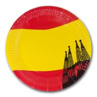 Pappteller mit rot-gelbem Spanien Flaggenmotiv und...
