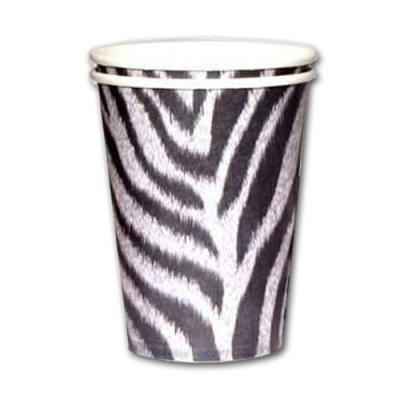 10 Pappbecher mit Zebramuster für den Safari Partytisch.