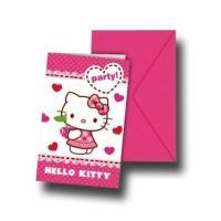"""""""Hello Kitty"""" Einladungskarten mit Umschlägen"""