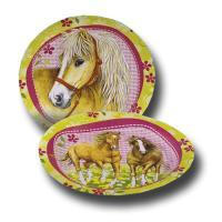 8 Pappteller für den Kindergeburtstag mit Pferde Partymotto.