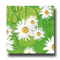 Grüne Papier-Servietten mit Margeritgen Muster.