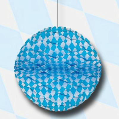 1 dekorativer Wabenball mit bayrischer Raute in blau-weiß für die passende Oktoberfest Deko.