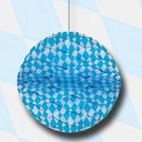 1 dekorativer Wabenball mit bayrischer Raute in blau-weiß...