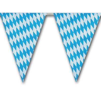 1 Kunststoff Wimpelkette mit bayrischer Raute für die Oktoberfest Dekoration.