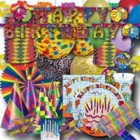 Buntes Geburtstagsdeko Set mit Partygeschirr & Partydeko...