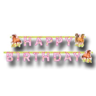 1 Partykette mit HAPPY BIRTHDAY Schriftzug, für den Pferde Kindergeburtstag.