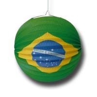 Papier-Lampion rund mit Aufdruck der Brasilien Flagge.