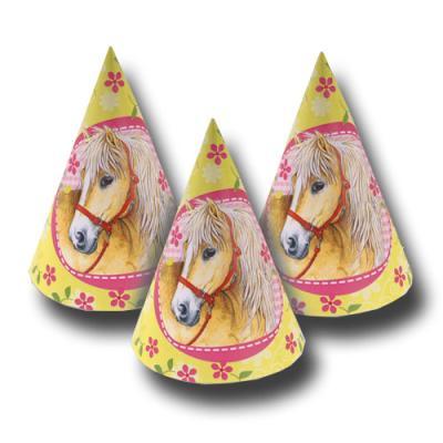 6 Partyhütchen für den Kindergeburtstag mit Pferde Partymotto.