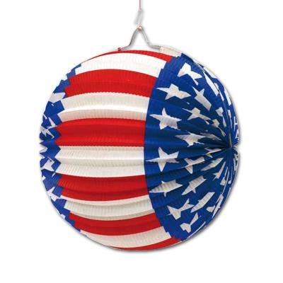 Papier-Lampion im Design der USA Flagge (Stars and Stripes) in blau-rot-weiß.