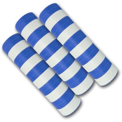 Qualitäts-Luftschlangen blau-weiß aus schwer entflammbarem Papier.