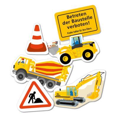 24 Riesen-Motiv Konfetti für den Kindergeburtstag Baustelle.