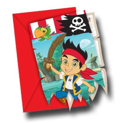 6 Einladungskarten mit Umschlägen für die Mottoparty zum Kindergeburtstag Jake der Pirat.