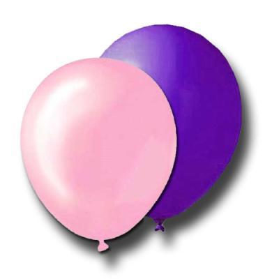 10 Luftballons violett und rosa für die passende Partydekoration.