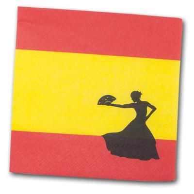20 Papierservietten mit rot-gelber Spanien Flagge und Flamencotänzerin Motiv