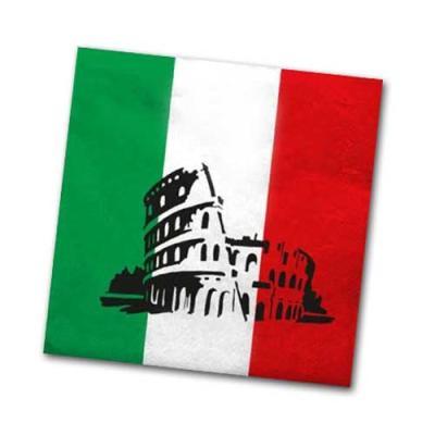 Papierservietten in den Farben der Italien Flagge (grün-weiß-rot) und mit Italien Motiv.