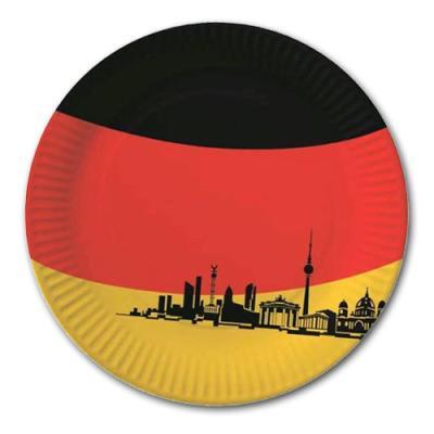 10 Pappteller im Design der Deutschland Flagge mit Motiven bekannter, deutscher Bauwerke.