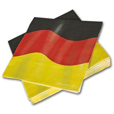 Deutschland Papierservietten mit Flaggen Motiv in schwarz-rot-gelb